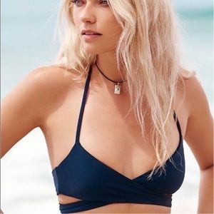 Beach Riot Halter Neck Tie Black Bikini Top
